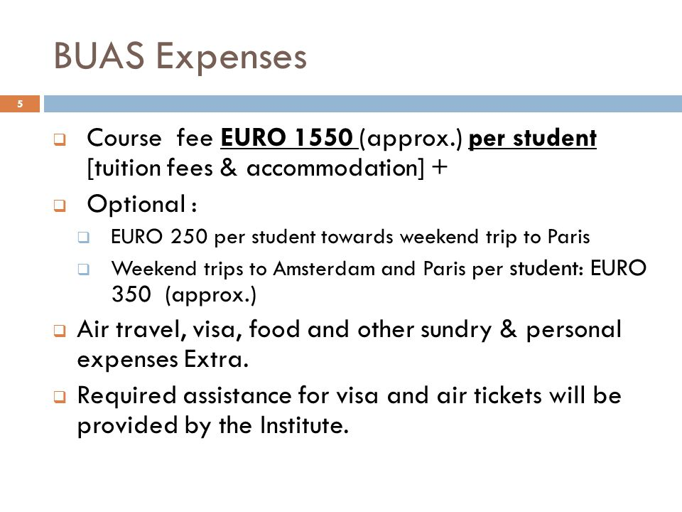 BUAS Expenses Course fee EURO 1550 (approx.) per student [tuition fees & accommodation] + Optional :